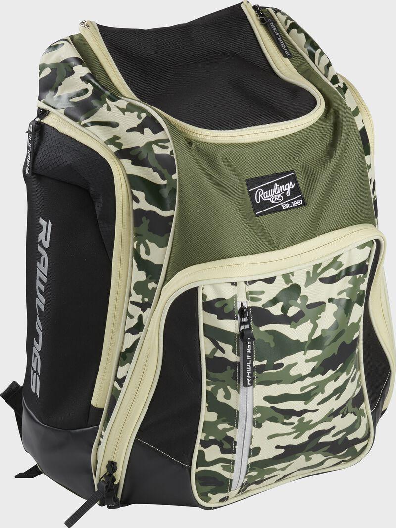Right angle view of a camo Rawlings Legion backpack - SKU: LEGION-CAMO