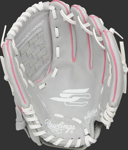 SCSB100P Rawlings Sure Catch Softball youth glove with a grey palm and white laces