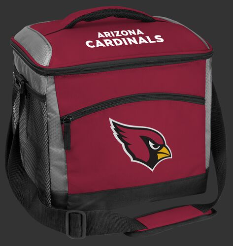 A red Arizona Cardinals 24 can soft sided cooler with screen printed logos - SKU: 10211081111