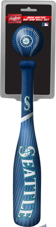 Rawlings Seattle Mariners Softee Mini Bat and Ball Set in Team Colors With Team Name and Logo On Front SKU #01160015114