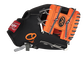 Thumb of a black/orange Baltimore Orioles 10-Inch team logo glove with an orange I-web and O's logo on the thumb - SKU: 22000018111 image number null