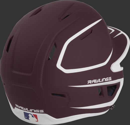 Back right of a two-tone matte maroon/white MACH Rawlings senior size batting helmet