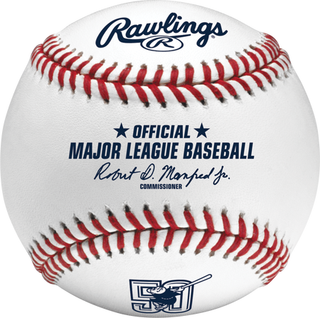 A ROMLBSD50 MLB San Diego Padres 50 year anniversary ball with the Official Ball stamp and league commissioner's signature