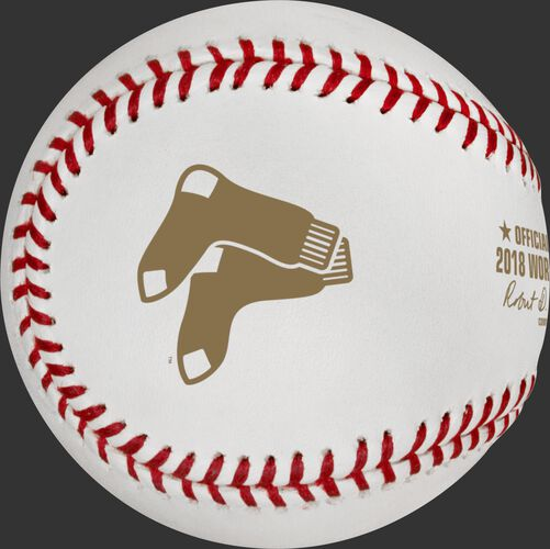 The Boston Red Sox logo stamped on the WSBB18DL Dueling 2018 World Series baseball