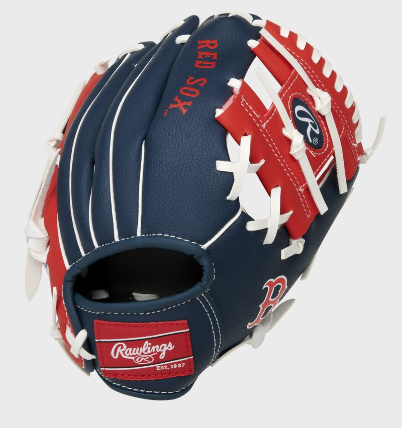 Back of a navy/red Boston Red Sox 10-inch I-web glove with a red Rawlings patch - SKU: 22000024111