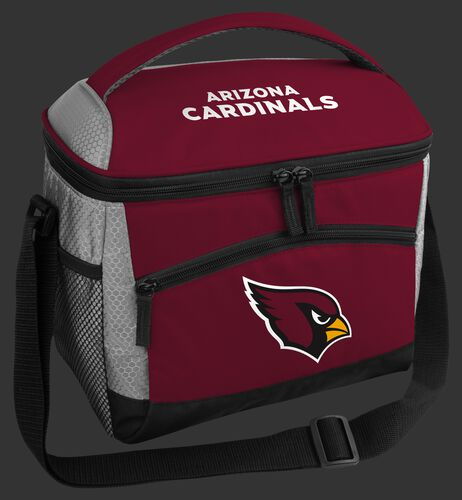 A red Arizona Cardinals 12 can soft sided cooler with a team logo on the front - SKU: 10111081111