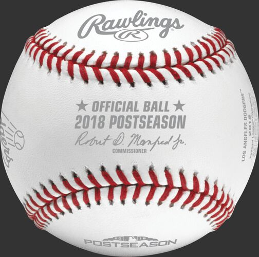 An official NLCS18CHMP 2018 Los Angeles Dodgers National League Champions baseball with the league commissioner's signature