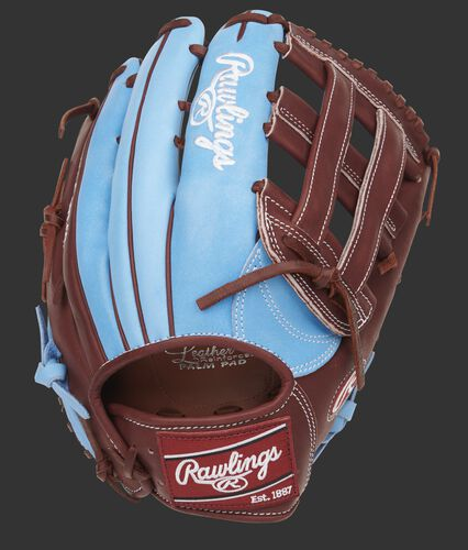 Columbia blue back of a 13-Inch Heart of the Hide H-web glove - SKU: PRO3039-6CBM