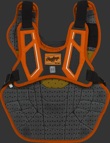 Back harness of an orange/black CPV2N intermediate Velo 2.0 chest protector with Dynamic Fit System 2.0