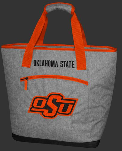 A gray Oklahoma State Cowboys 30 can tote cooler with an embroidered team logo on the front - SKU: 10323044111