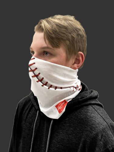 Side view of a kid wearing a white youth multi-functional head and face gear cover with it covering his mouth/nose - SKU: YRC40001-100