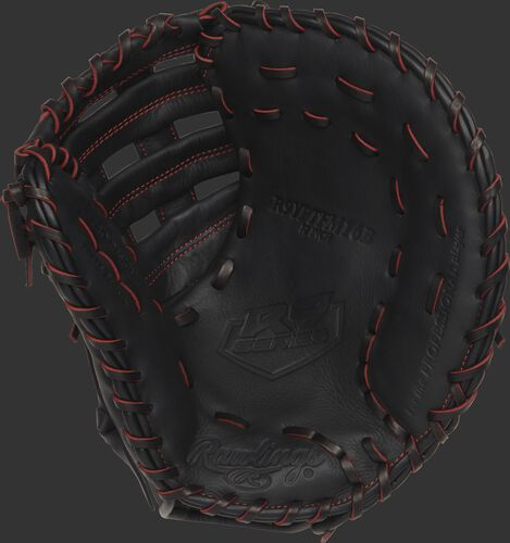 R9YPTFM16B 12-inch Rawlings youth first base mitt with a black palm and black/scarlet laces