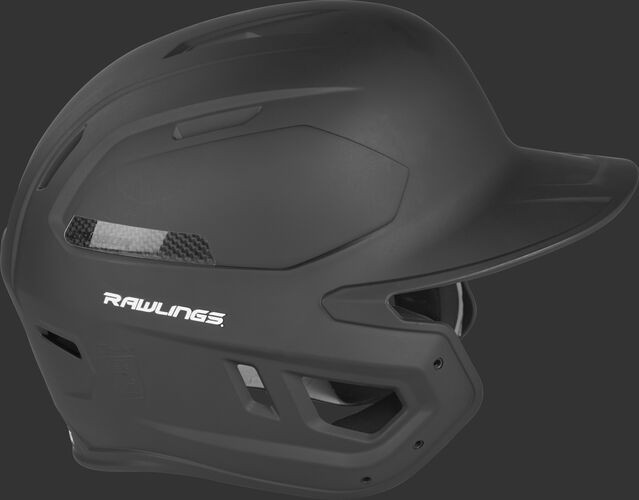Right side of a matte black CAR07A MACH Carbon baseball helmet with a carbon fiber plate insert