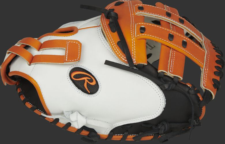 Thumb of a white/black RLACM33FPOB Liberty Advanced Color Series 33-inch catcher's mitt with an orange H web