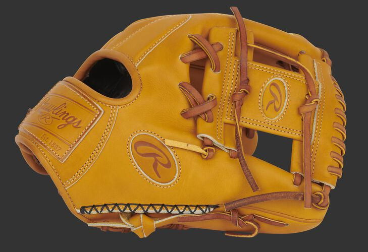Rich tan thumb of an exclusive Pro Preferred 11.5-Inch infield glove with hand sewn welting and tan I-web - SKU: PROS204-2RT