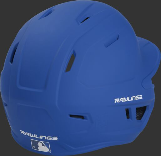 Back right of a matte royal MACHEXTR Rawlings junior size batting helmet