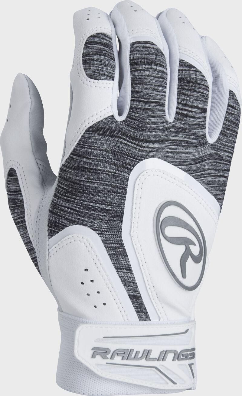 A white 5150WBG-W youth 5150 batting glove with a heather grey back
