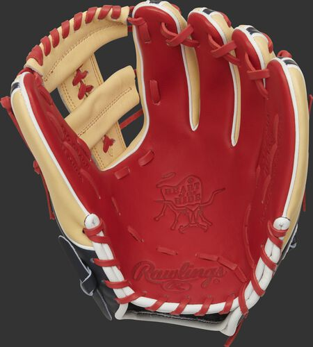 Scarlet palm of a 2021 Rawlings HOH infield glove with a camel web and scarlet laces - SKU: PRO314-19SN