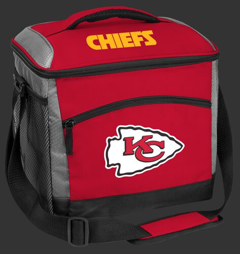 A red Kansas City Chiefs 24 can soft sided cooler with screen printed team logos - SKU: 10211071111