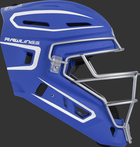 Right side of a royal CHV27J Velo 2.0 youth size catcher's helmet