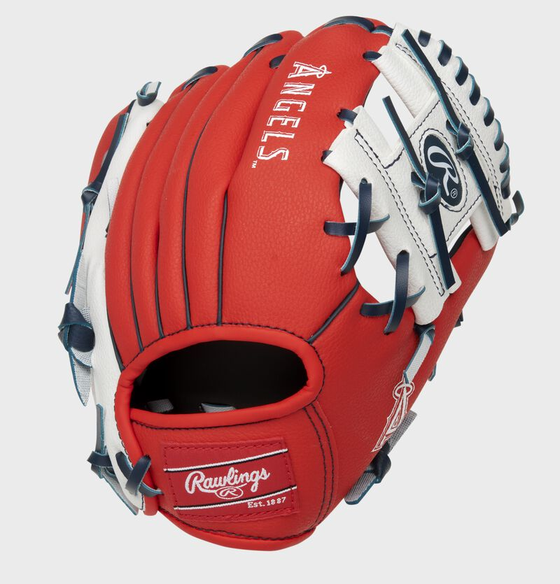 Back of a red Los Angeles Angles 10-Inch I-web glove - SKU: 22000001111