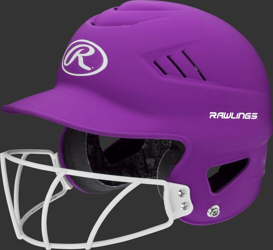 A purple RCFHLFG Coolflo batting helmet with a white facemask