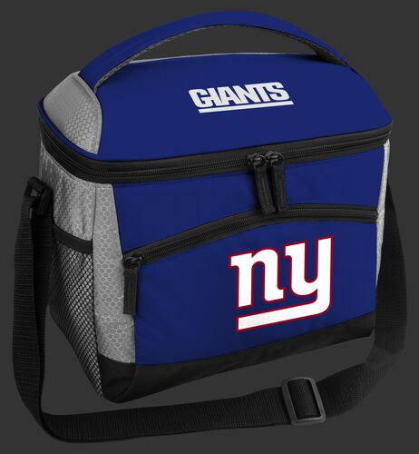 A blue New York Giants 12 can soft sided cooler with a team logo on the front - SKU: 10111078111