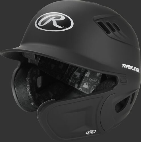 Front angle of a Rawlings Velo batting helmet with R-EXT flap for a right handed batter - SKU: R6E07R