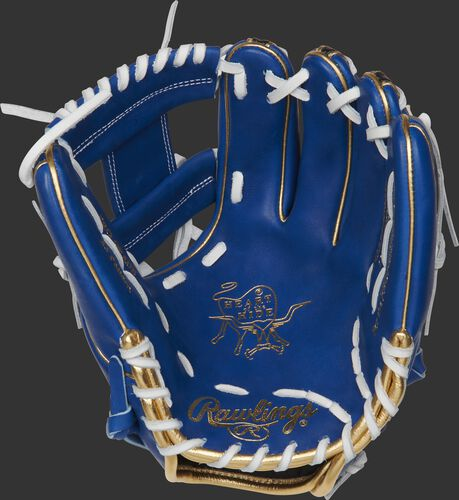 PRO234-2RSSG Rawlings ColorSync 4.0 infield glove with a royal palm and white laces