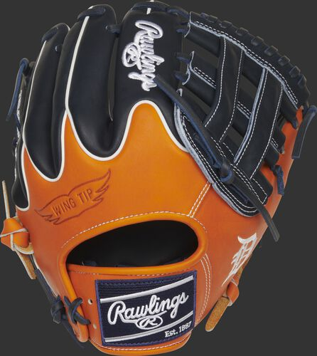 Orange/navy Wing Tip back of a Detroit Tigers Heart of the Hide H-web glove with a navy Rawlings patch - SKU: RSGPRO204W-6DET