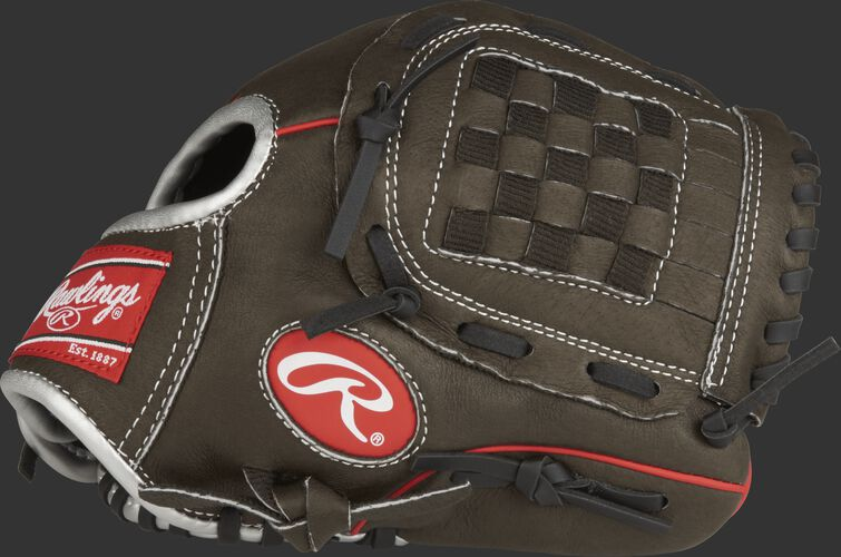 Thumb view of a dark shadow MPL100DSB Mark of a Pro Light 10-inch youth glove with a dark shadow Basket web