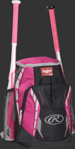 Side angle view of a pink R400 youth equipment backpack with two bats in the side bat sleeves