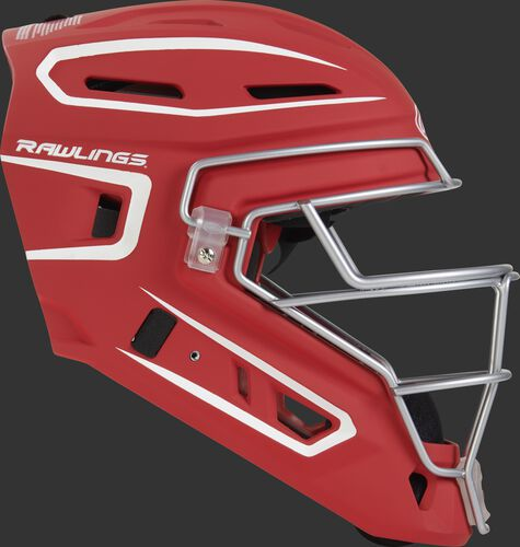 Right side of a scarlet CHV27J Velo 2.0 adult size catcher's helmet