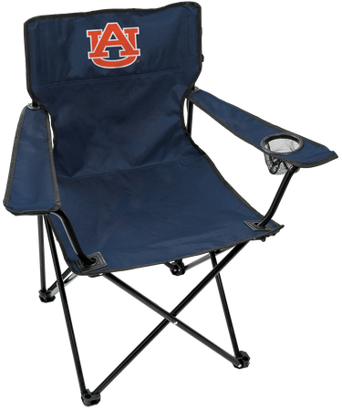 A navy NCAA Auburn Tigers Gameday Elite quad chair with the team logo printed on the back