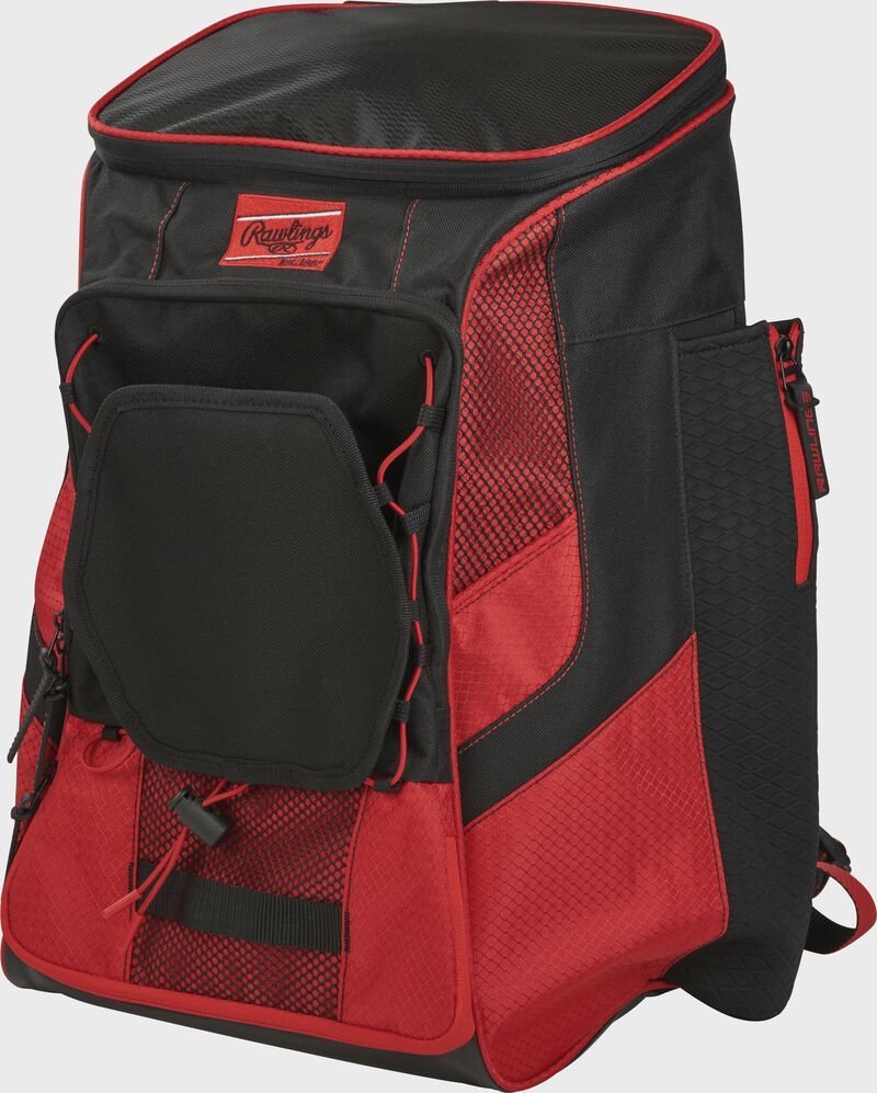 Front left of a scarlet/black R600 Rawlings backpack without bats