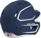 Back right of a two-tone matte navy/white MACHEXTR Rawlings junior size batting helmet image number null