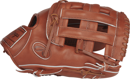 Thumb view of a bruciato PROS3029-6BR Pro Preferred 12.75-inch outfield glove with a bruciato H web
