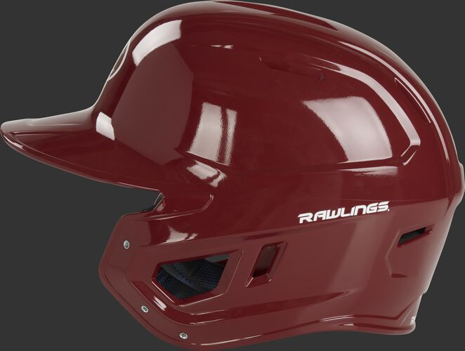 Left side of a cardinal red MCH01A high school Mach helmet