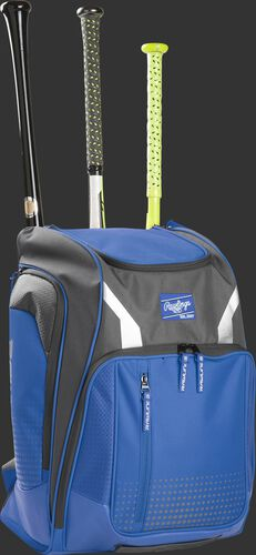 Front angle view of a Rawlings Legion bag with 3 bats in the back - SKU: LEGION-R