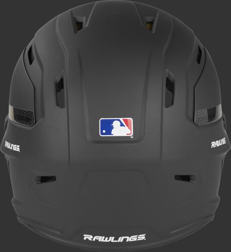 Back of a matte black CAR07A Rawlings adult batting helmet with the Official Batting Helmet of MLB logo