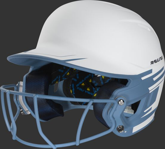 Front left of a white/columbia blue Mach softball helmet with a columbia blue mask - SKU: MSB13S-W/CB