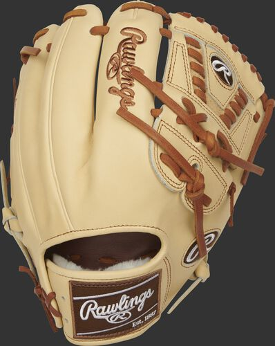 Camel back of a 2021 11.75-Inch Pro Preferred Laced 2-Piece Solid web glove with a brown Rawlings patch - SKU: PROS205-30C