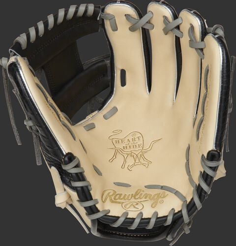 PRO204W-2CCBP Rawlings ColorSync 4.0 infield glove with a camel palm and grey laces