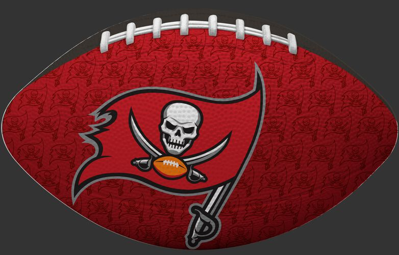 Red side of a NFL Tampa Bay Buccaneers Gridiron football with the team logo