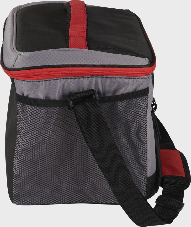 Side of a black Rawlings 24 can soft cooler with a shoulder strap and mesh pocket on the side - SKU: 10224043511