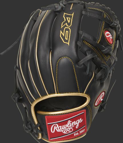 Black back of a R9 series I-web infield glove with gold welting and red Rawlings patch - SKU: R9204-2BG