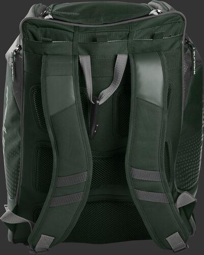 Back of a dark green Rawlings Legion backpack with dark green shoulder straps - SKU: LEGION-DG