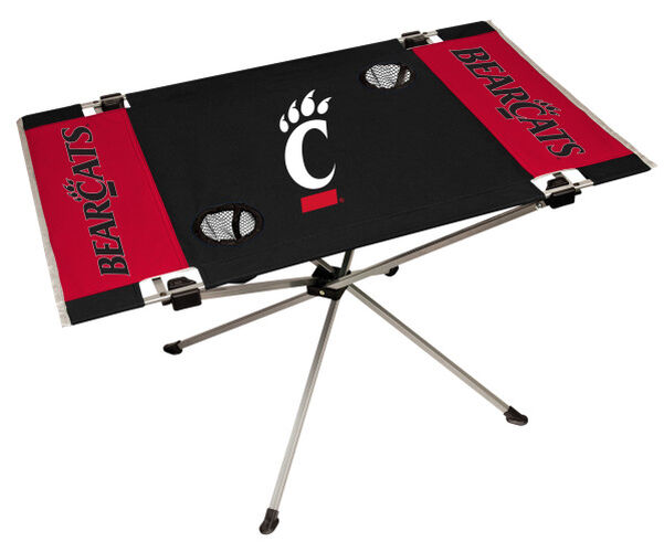 Rawlings Black and Red NCAA Cincinnati Bearcats Endzone Table With Two Cup Holders, Team Logo, and Team Name SKU #04053009111