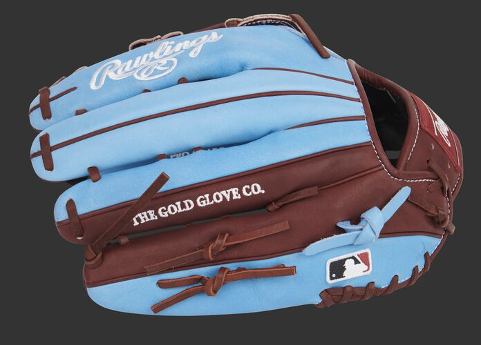 Columbia blue/maroon finger backs of a Heart of the Hide 13-Inch outfield glove with the MLB logo on the pinkie - SKU: PROBH3-6CBM