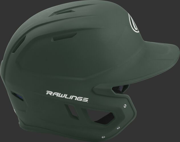 Right side of a matte dark green MACH helmet